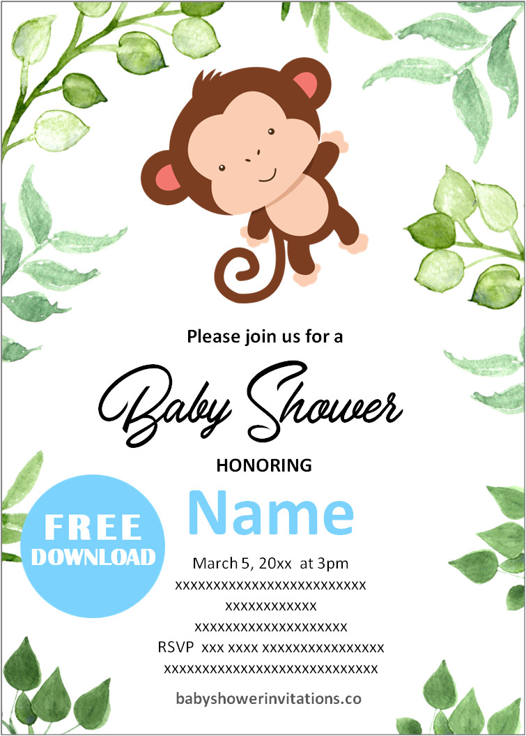 Jungle Baby Boy Monkey Shower Invitation