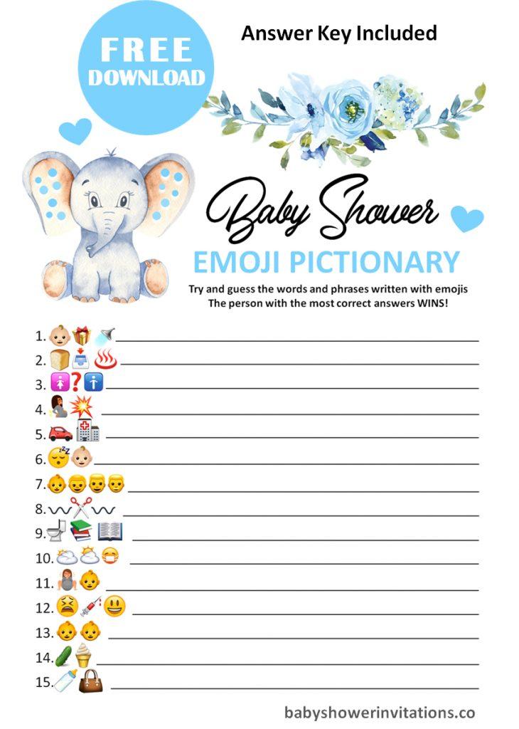 FREE Printable Baby Shower Emoji Pictionary For Printing