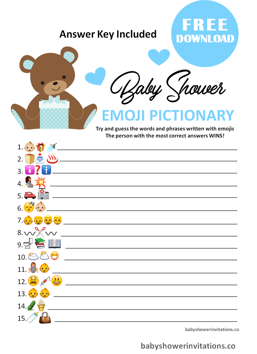 baby shower emoji pictionary answers