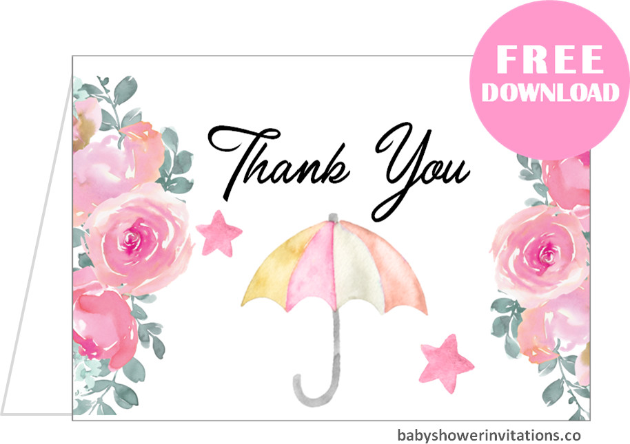 Baby shower thank you cards Free Printable
