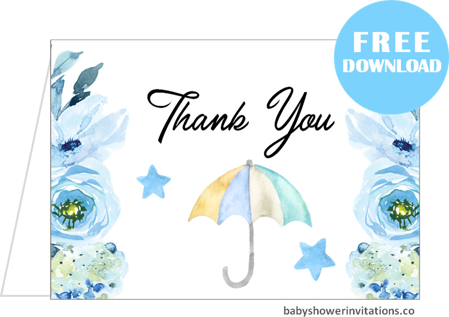 Free thank you cards baby shower