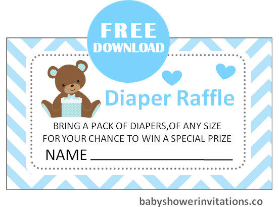 Boy Diaper Raffle Ticket Printable