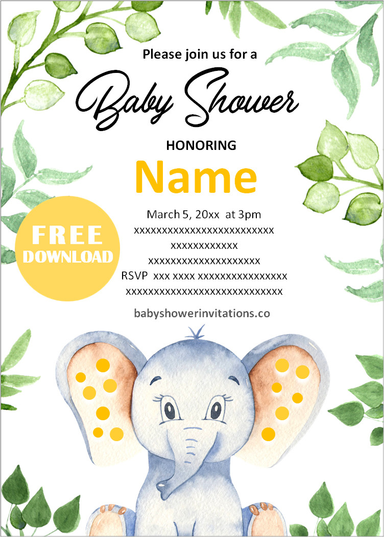 Elephant Gender Neutral Baby Shower Invitation