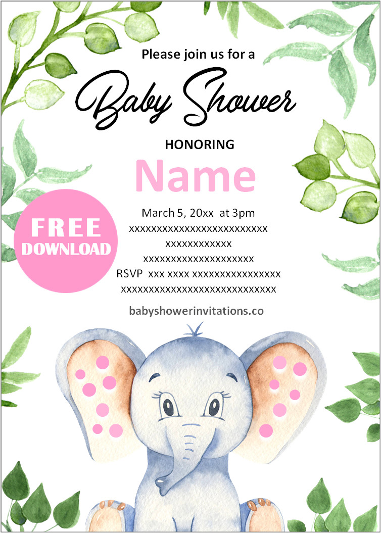 Free Elephant Baby Shower Invitations