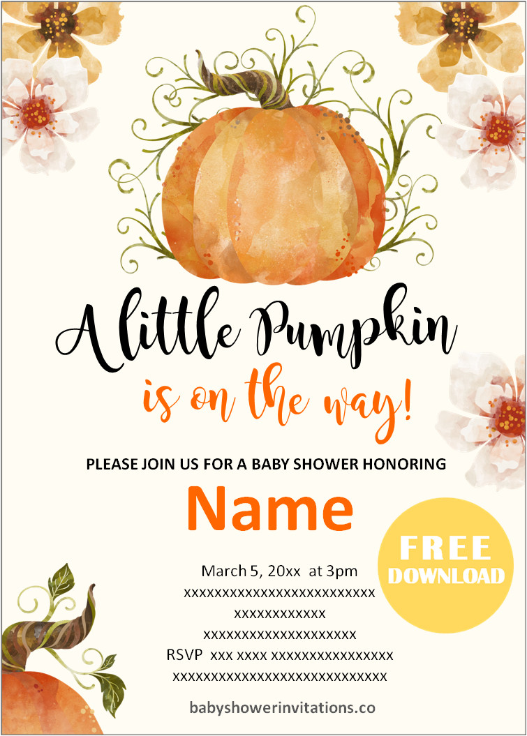 Free Fall Baby Shower Invitations