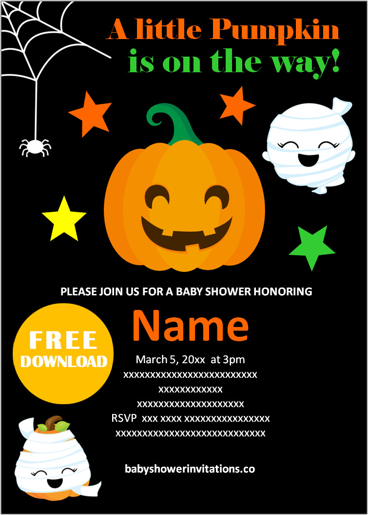 Digital halloween baby shower invitations