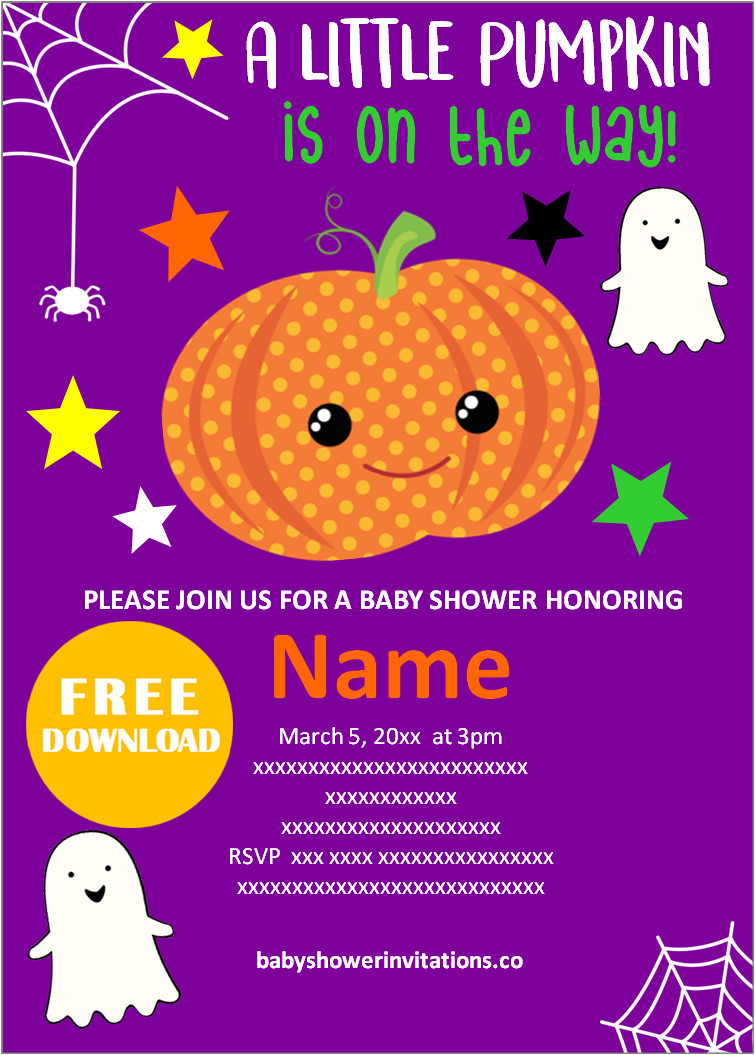 halloween baby shower invitations Templates pdf