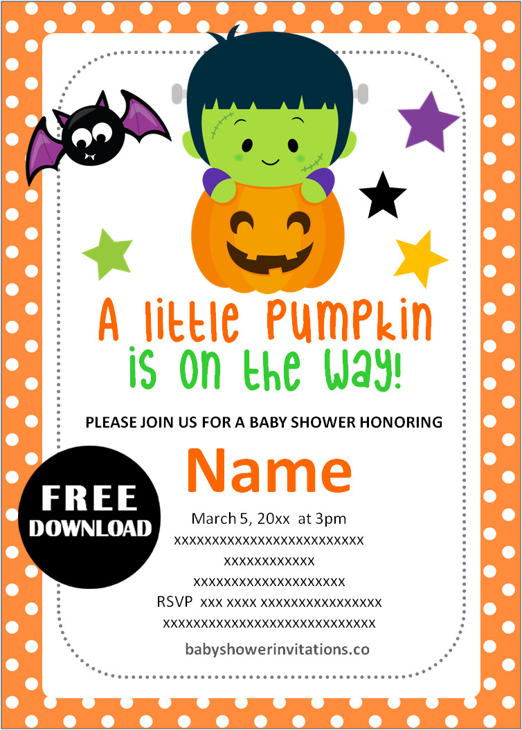 halloween free printable baby shower invitations